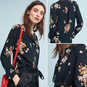 Anthropologie Maeve Ashbury Black Floral Blouse